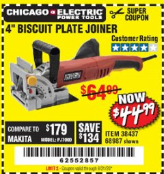"Harbor Freight Coupon 4"" BISCUIT PLATE JOINER Lot No. 38437/68987 Expired: 6/21/20 - $44.99"