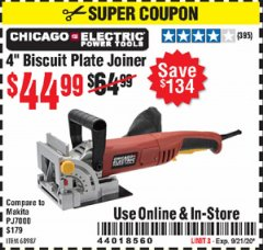 "Harbor Freight Coupon 4"" BISCUIT PLATE JOINER Lot No. 38437/68987 Expired: 9/21/20 - $44.99"
