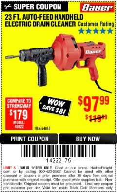 Harbor Freight ITC Coupon BAUER 23 FT AUTO FEED HANDHELD ELECTRIC DRAIN CLEANER Lot No. 64063 Expired: 1/10/19 - $97.99