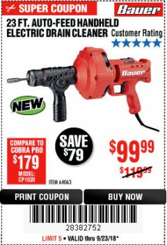 Harbor Freight Coupon BAUER 23 FT AUTO FEED HANDHELD ELECTRIC DRAIN CLEANER Lot No. 64063 Expired: 9/23/18 - $99.99