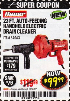 Harbor Freight Coupon BAUER 23 FT AUTO FEED HANDHELD ELECTRIC DRAIN CLEANER Lot No. 64063 Expired: 11/30/18 - $99.99