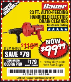Harbor Freight Coupon BAUER 23 FT AUTO FEED HANDHELD ELECTRIC DRAIN CLEANER Lot No. 64063 Valid Thru: 12/14/19 - $99.99