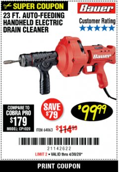 Harbor Freight Coupon BAUER 23 FT AUTO FEED HANDHELD ELECTRIC DRAIN CLEANER Lot No. 64063 Valid Thru: 6/30/20 - $99.99
