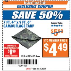 "Harbor Freight ITC Coupon 7'4""X9'6"" CAMOUFLAGE TARP Lot No. 61765/46411 Expired: 11/20/18 - $4.49"