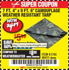 "Harbor Freight Coupon 7'4""X9'6"" CAMOUFLAGE TARP Lot No. 61765/46411 Expired: 12/1/18 - $4.49"