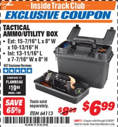 Harbor Freight ITC Coupon TACTICAL AMMO BOX W/TRAY Lot No. 64113 Expired: 2/29/20 - $6.99