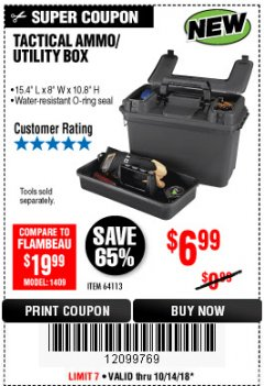 Harbor Freight Coupon TACTICAL AMMO BOX W/TRAY Lot No. 64113 Expired: 10/14/18 - $6.99