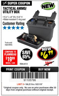 Harbor Freight Coupon TACTICAL AMMO BOX W/TRAY Lot No. 64113 Expired: 10/21/18 - $6.99