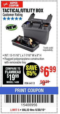 Harbor Freight Coupon TACTICAL AMMO BOX W/TRAY Lot No. 64113 Valid Thru: 6/30/19 - $6.99