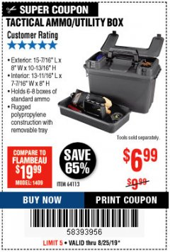 Harbor Freight Coupon TACTICAL AMMO BOX W/TRAY Lot No. 64113 Expired: 8/25/19 - $6.99