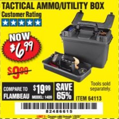 Harbor Freight Coupon TACTICAL AMMO BOX W/TRAY Lot No. 64113 Expired: 1/3/20 - $6.99