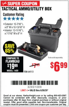 Harbor Freight Coupon TACTICAL AMMO BOX W/TRAY Lot No. 64113 Expired: 6/30/20 - $6.99