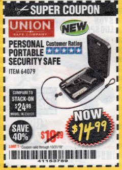 Harbor Freight Coupon PERSONAL PORTABLE SECURITY SAFE Lot No. 64079 Expired: 10/31/18 - $14.99