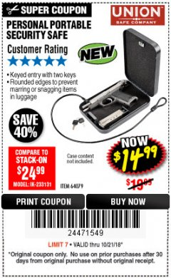Harbor Freight Coupon PERSONAL PORTABLE SECURITY SAFE Lot No. 64079 Expired: 10/21/18 - $14.99