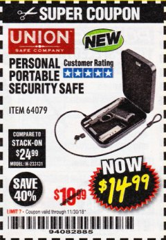 Harbor Freight Coupon PERSONAL PORTABLE SECURITY SAFE Lot No. 64079 Expired: 11/30/18 - $14.99