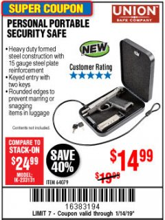 Harbor Freight Coupon PERSONAL PORTABLE SECURITY SAFE Lot No. 64079 Expired: 1/14/19 - $14.99