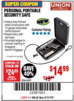 Harbor Freight Coupon PERSONAL PORTABLE SECURITY SAFE Lot No. 64079 Expired: 2/11/19 - $14.99