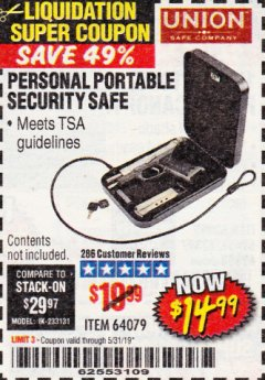 Harbor Freight Coupon PERSONAL PORTABLE SECURITY SAFE Lot No. 64079 EXPIRES: 5/31/19 - $14.99