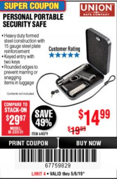 Harbor Freight Coupon PERSONAL PORTABLE SECURITY SAFE Lot No. 64079 Expired: 5/6/19 - $14.99