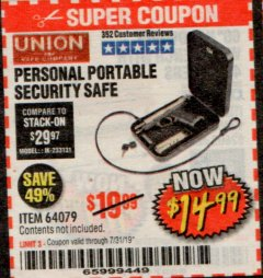 Harbor Freight Coupon PERSONAL PORTABLE SECURITY SAFE Lot No. 64079 Expired: 7/31/19 - $14.99