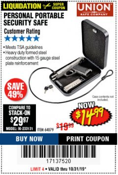 Harbor Freight Coupon PERSONAL PORTABLE SECURITY SAFE Lot No. 64079 Expired: 10/31/19 - $14.99