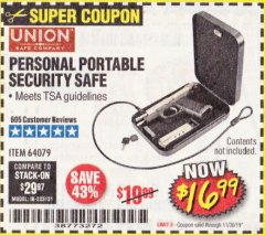 Harbor Freight Coupon PERSONAL PORTABLE SECURITY SAFE Lot No. 64079 Expired: 11/30/19 - $16.99