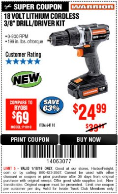 "Harbor Freight ITC Coupon WARRIOR 18V LITHIUM 3/8"" CORDLESS DRILL Lot No. 64118 Expired: 1/10/19 - $24.99"