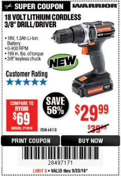"Harbor Freight Coupon WARRIOR 18V LITHIUM 3/8"" CORDLESS DRILL Lot No. 64118 Expired: 9/23/18 - $29.99"