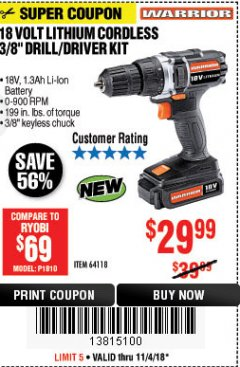 "Harbor Freight Coupon WARRIOR 18V LITHIUM 3/8"" CORDLESS DRILL Lot No. 64118 Expired: 11/4/18 - $29.99"