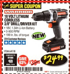 "Harbor Freight Coupon WARRIOR 18V LITHIUM 3/8"" CORDLESS DRILL Lot No. 64118 Expired: 3/31/19 - $24.99"