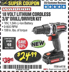 "Harbor Freight Coupon WARRIOR 18V LITHIUM 3/8"" CORDLESS DRILL Lot No. 64118 Expired: 4/30/19 - $24.99"