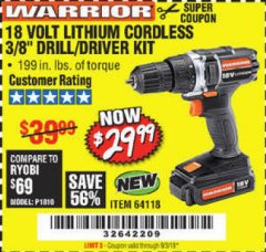"Harbor Freight Coupon WARRIOR 18V LITHIUM 3/8"" CORDLESS DRILL Lot No. 64118 Expired: 9/3/19 - $29.99"