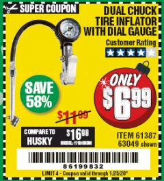 Harbor Freight Coupon DUAL CHUCK TIRE INFLATOR WITH DIAL GAUGE Lot No. 68271/61387 Expired: 1/25/20 - $6.99