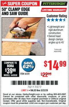 "Harbor Freight Coupon 50"" CLAMP & CUT EDGE GUIDE Lot No. 66581 Expired: 3/22/20 - $14.99"
