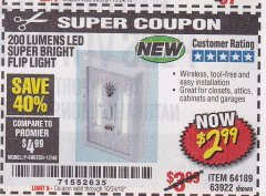 Harbor Freight Coupon LED SUPER BRIGHT FLIP LIGHT Lot No. 64723/63922/64189 Expired: 10/24/18 - $2.99