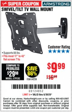 Harbor Freight Coupon SWIVEL/TILT TV WALL MOUNT Lot No. 64238 EXPIRES: 6/30/20 - $9.99