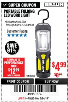 Harbor Freight Coupon PORTABLE FOLDING LED WORK LIGHT Lot No. 63930 Expired: 3/24/19 - $4.99