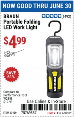 Harbor Freight Coupon PORTABLE FOLDING LED WORK LIGHT Lot No. 63930 EXPIRES: 6/30/20 - $4.99