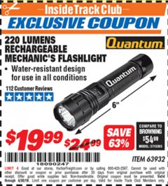 Harbor Freight ITC Coupon 220 LUMENS RECHARGEABLE MECHANIC'S FLASHLIGHT Lot No. 63932 Expired: 4/30/19 - $19.99