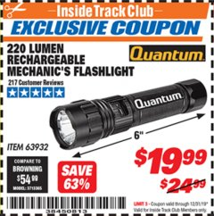 Harbor Freight ITC Coupon 220 LUMENS RECHARGEABLE MECHANIC'S FLASHLIGHT Lot No. 63932 Expired: 12/31/19 - $19.99