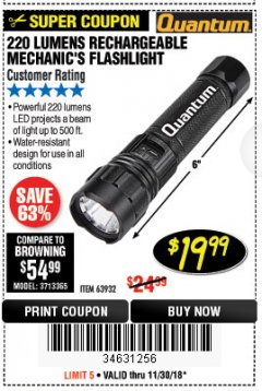 Harbor Freight Coupon 220 LUMENS RECHARGEABLE MECHANIC'S FLASHLIGHT Lot No. 63932 Expired: 11/30/18 - $19.99