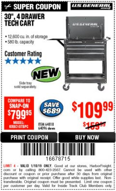 "Harbor Freight ITC Coupon 30"", 4 DRAWER TECH CART Lot No. 64096/64818 Expired: 1/10/19 - $109.99"