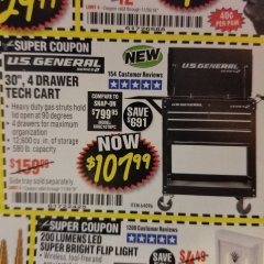"Harbor Freight Coupon 30"", 4 DRAWER TECH CART Lot No. 64096/64818 Expired: 11/30/18 - $107.99"