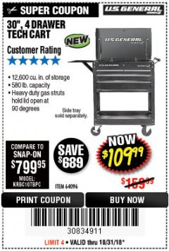 "Harbor Freight Coupon 30"", 4 DRAWER TECH CART Lot No. 64096/64818 Expired: 10/31/18 - $109.99"
