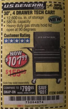 "Harbor Freight Coupon 30"", 4 DRAWER TECH CART Lot No. 64096/64818 Expired: 2/5/19 - $107.99"