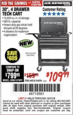 "Harbor Freight Coupon 30"", 4 DRAWER TECH CART Lot No. 64096/64818 Expired: 12/31/18 - $109.99"