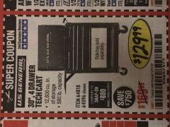 "Harbor Freight Coupon 30"", 4 DRAWER TECH CART Lot No. 64096/64818 Expired: 5/31/19 - $129.99"