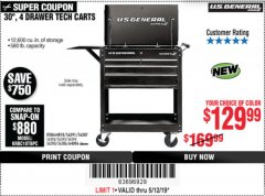 "Harbor Freight Coupon 30"", 4 DRAWER TECH CART Lot No. 64096/64818 Expired: 5/12/19 - $129.99"