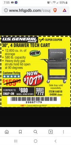 "Harbor Freight Coupon 30"", 4 DRAWER TECH CART Lot No. 64096/64818 Expired: 8/9/19 - $107.99"