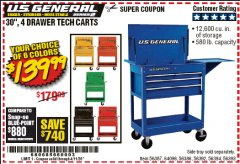 "Harbor Freight Coupon 30"", 4 DRAWER TECH CART Lot No. 64818/56391/56387/56386/56392/56394/56393/64096 EXPIRES: 6/30/20 - $139.99"